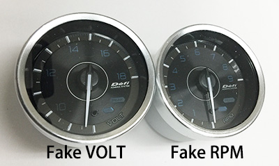 the both gauges are fake  we have neither a1 volt gauge nor 60mm diameter  tachometer